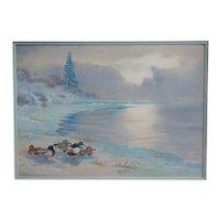 Original vintage ducks winter landscape bird watercolor painting Philip Rickman