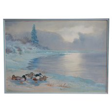Original vintage ducks winter landscape bird watercolor painting Philip Rickman