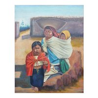 Mother w children original antique ethnic painting Penaherrera Latin America