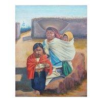 Mother w children original antique ethnic painting Penaherrera Latin America