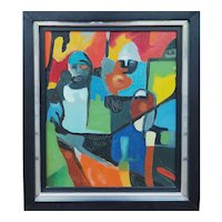 The Shields original abstract modern colorful painting Warriors by O'Brien 1977