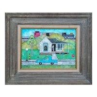 Original vintage train house pets people Americana pop art folk oil painting GWR