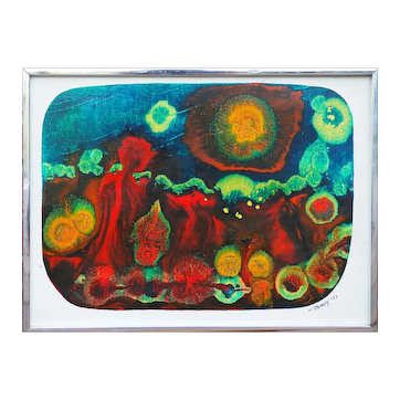 Original vintage abstract colorful outsider art painting by Tawney