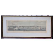 New York City view from North River 1839 antique aquatint print by Raoul Varin