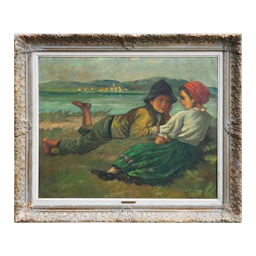 Children on field beautiful original antique oil painting Oszkar Glatz Hungary