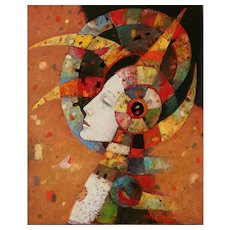 Profile study original oil painting by Mihail Aleksandrov