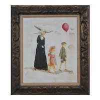 Nun with kids red balloon unique outsider vintage painting by Bill William McCauley