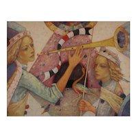 Trumpeting Angel original oil painting by Mihail Aleksandrov