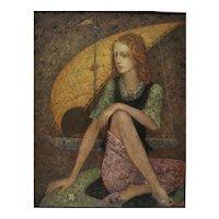 Waiting woman and sail boat original oil painting by Mihail Aleksandrov