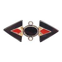 Vintage Art Deco sterling silver 9k gold onyx carnelian pin brooch