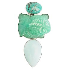 Large sterling silver jade turquoise koi fish pin pendant Amy Kahn Russell AKR