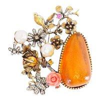 Beautiful ornate birds flower butterflies amber sterling silver pearl brooch pin