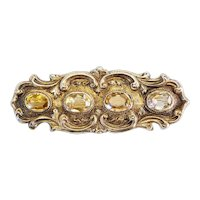 Antique Victorian handmade silver and citrine ornate bar pin brooch pendant