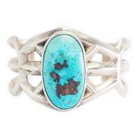 Heavy vintage handmade sterling silver turquoise sandcast Navajo cuff bracelet