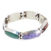 Vintage heavy sterling silver multi color gemstones bracelet by Alicia Mexico