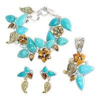 Vintage sterling silver bronze Echo of Dreamer bracelet earrings pendant set