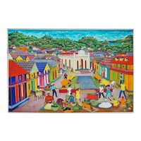 Haiti town market scene original oil on canvas painting by Pauleus Vital