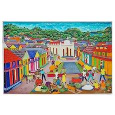 Haiti town market scene original oil on canvas painting by Pauleus Vital