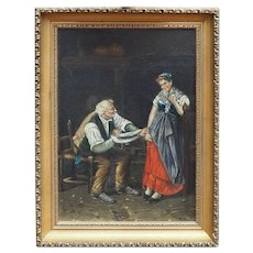 Spinning wool old man flirting w young gypsy woman signed antique oil painting