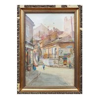Ratzenstadl Vienna street view Austria antique watercolor painting Emil Czech
