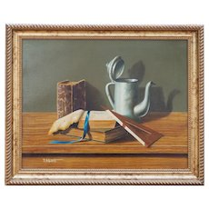 Original vintage still life book ruler pitcher oil painting by Francesco Alberti