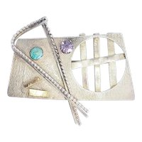 One of a kind sterling silver gold gemstones abstract brooch pin by Lynda Thorp