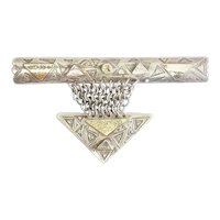 One of a kind large handmade sterling silver 14k gold gemstones pin Susan Marsh