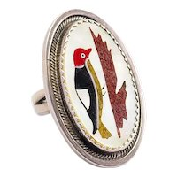 Vintage Native American Zuni abalone coral inlaid Woodpecker bird sterling silver open design ring