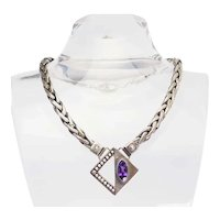 One of a kind heavy modern sterling silver amethyst geometric necklace
