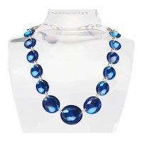 Handmade vintage sterling silver cobalt blue enamel saucer link necklace