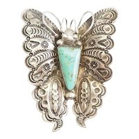 Gorgeous large vintage sterling silver turquoise stamped butterfly brooch pin