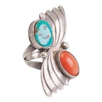 Large vintage asymmetrical coral turquoise sterling silver signed ring sz 6