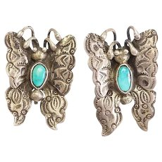Antique handmade Native American sterling silver turquoise butterfly earrings