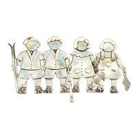 Kids toys doll skis baseball bat artisan sterling silver 14k gold pin pendant