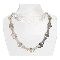 Vintage heavy brutalist modern sterling silver necklace Taxco Mexico