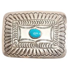 Vintage sterling silver and turquoise handmade Native American belt buckle