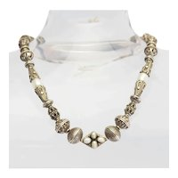 Artisan one of a kind vintage sterling silver Bali beads pearls handmade necklace