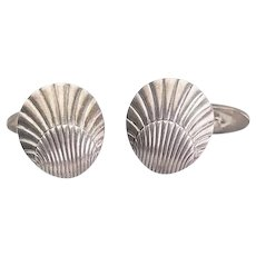 Vintage sterling silver Georg Jensen sea shell designer cufflinks Denmark
