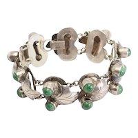 Elegant antique sterling silver and jade leaf links modernist bracelet Mexico