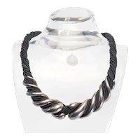 Huge vintage sterling 925 silver modernist rope necklace by Jordan Schlanger