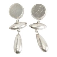 Long vintage modern geometry dangling sterling silver earrings Brenda Schoenfeld