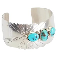 Gorgeous wide sterling silver turquoise signed Native American bracelet ES