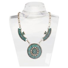 Vintage sterling silver turquoise needle point Zuni necklace by Dewey & Janette Ghahate