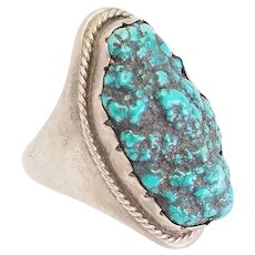 Huge vintage sterling silver and turquoise handmade Native American ring size 13
