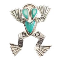Amazing vintage sterling silver turquoise leaping frog Native American pin