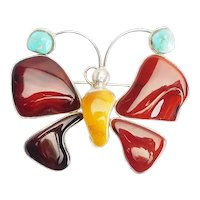 Stunning large sterling silver amber turquoise butterfly insect pin or pendant