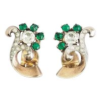 Amazing vintage sterling silver green crystals clip on earrings by Joseph Mazer