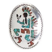 Large inlaid Zuni Native American dancer sterling silver ring sz 8 T. Begay