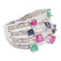 Stunning sparkling 10k white gold rubies sapphires emeralds diamonds ring sz 6