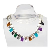 Stunning heavy modern sterling silver multi color gemstones necklace Taxco